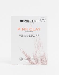 Revolution - Skincare – Biologisch abbaubare Detox-Tuchmasken mit rosafarbener Tonerde im 5er-Set-Keine Farbe