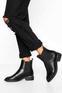 boohoo - Womens Chelsea-Boots Mit Breiter Passform Und Metall-Detail - Schwarz - 38, Schwarz