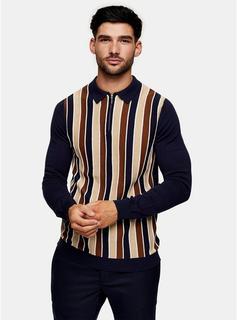 Topman - Mens Navy Stripe Zip Knitted Polo, Navy