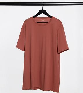 River Island - Big & Tall – Schmal geschnittenes T-Shirt in Braun