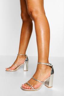 boohoo - Womens Sandalen Mit Blockabsatz Und Drei Riemchen - Silber - 39, Silber