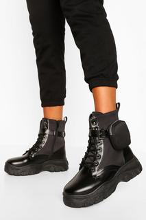 boohoo - Womens Boots Mit Dicker Sohle Und Beutel - Schwarz - 38, Schwarz