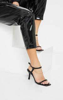 PrettyLittleThing - Black PU Tubular Strap Chain Trim Kitten Heeled Sandals, Black