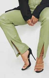PrettyLittleThing - Black Round Toe Triple Strap Chain High Heels, Black