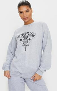 PrettyLittleThing - Grey Tennis Club Sport Sweater, Grey