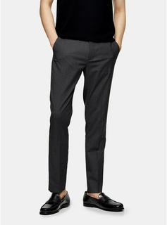 Topman - Mens Recycled Charcoal Grey Slim Trousers, Grey