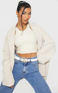 PrettyLittleThing - White Double Ring Buckle Belt, White