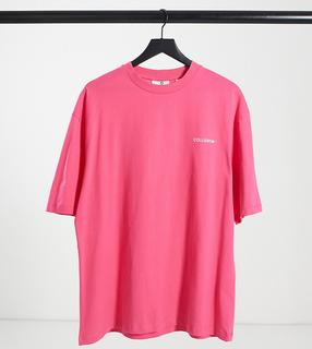 Collusion - Unisex – Oversize-T-Shirt mit Logo-Print in Rosa