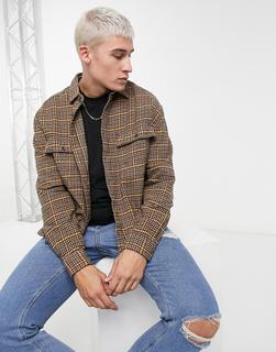 ASOS DESIGN - Hemdjacke mit zwei Taschen in traditionellem Braun kariert, Kombiteil