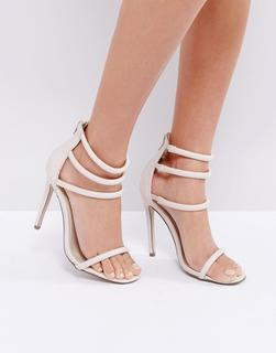 Missguided - Barely There – High Heels mit vier Riemchen-Beige - 23.83 €