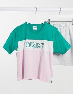 Tommy Jeans - T-Shirt mit buntem Farbblockdesign-Mehrfarbig