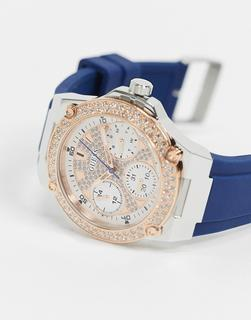guess - Chronograf mit weißem Zifferblatt-Blau