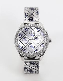 guess - Armbanduhr mit All-over-Logo-Print-Silber