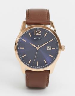 guess - Armbanduhr mit braunem Armband