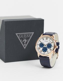 guess - Armbanduhr mit blauem Zifferblatt-Silber
