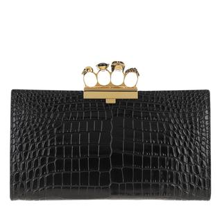 alexander mcqueen - Clutch - Croco Effect Pouch Leather Black - in schwarz - für Damen