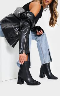 PrettyLittleThing - Black Square Toe Mid Flare Block Heels Ankle Boots, Black