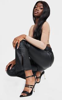 PrettyLittleThing - Black Point Toe Pin Heels Double Strap Heels Sandals, Black