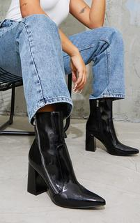 PrettyLittleThing - Black Side Zip Mid Point Toe Block Heel Ankle Boots, Black