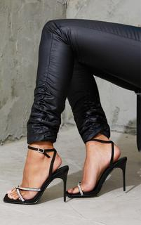 PrettyLittleThing - Black Toe Through Strappy Square Toe Heeled Sandals, Black