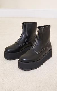 PrettyLittleThing - Black Contrast Stitch Zip Front Flat Platform Ankle Boots, Black