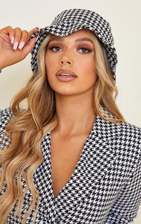 PrettyLittleThing - White Houndstooth Bucket Hat, White