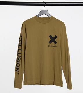 Collusion - Unisex – Langärmliges T-Shirt mit Logo-Print in Stein-Stone