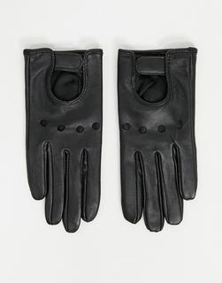 ASOS DESIGN - Schlichte, schwarze Touchscreen-Lederhandschuhe mit Cut-Outs