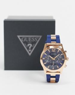 guess - Marineblaue Uhr mit goldenen Details