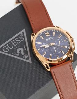 guess - Armbanduhr mit blauem Ziffernblatt-Braun