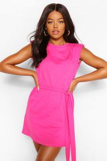boohoo - Womens Shoulder Pad Tie Belt Jersey T Shirt Dress - Berry - 42, Berry