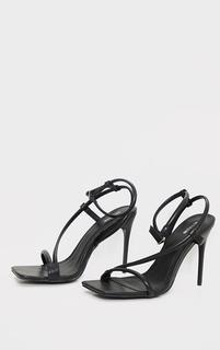 PrettyLittleThing - Black PU Square Toe Strap High Heeled Sandals, Black