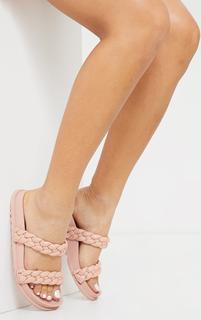 PrettyLittleThing - Blush PU Chunky Platted Twin Strap Footbed Sandals, Pink