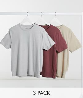 Abercrombie & Fitch - T-Shirts in Rot/Grau/Gold mit Logo im 3er-Set-Mehrfarbig