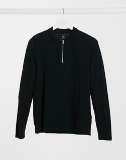 New Look - Langärmliges Polohemd aus Piqué mit Reißverschluss in Schwarz