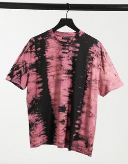 ASOS DESIGN - Legeres T-Shirt mit verwaschenem Batikmuster in Rosa