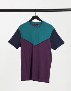 ASOS DESIGN - T-Shirt mit Sparrenmuster in Burgunderrot-Violett
