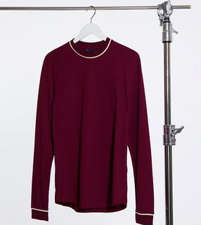 ASOS DESIGN - Tall – Elegantes, langärmliges Shirt in Burgunderrot mit Paspelierung-Mehrfarbig
