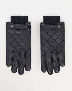 Barbour - Gesteppte Leder-Handschuhe in Schwarz