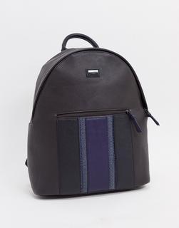 TED BAKER - Schwarzer Rucksack aus Kunstleder mit blauem Streifen-Braun