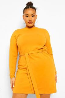 boohoo - Womens Plus Self Belted Jersey Swing Dress - Mustard - 48, Mustard