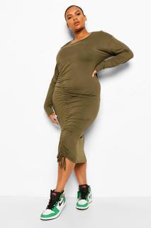 boohoo - Womens Plus Jersey Ruched Longsleeve Mini Dress - Khaki - 44, Khaki