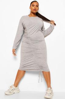 boohoo - Womens Plus Jersey Ruched Longsleeve Mini Dress - Grey - 42, Grey