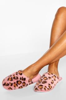 boohoo - Womens Fluffy Leopard Slipper - Pink - 30, Pink