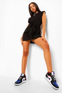 boohoo - Womens Shoulder Pad Tie Belt Jersey T Shirt Dress - Black - 42, Black