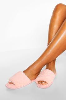 boohoo - Womens Fluffy Slider Slipper - Blush - 29, Blush