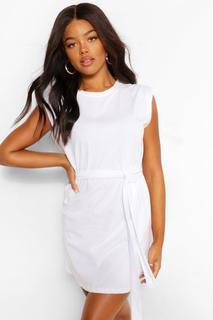boohoo - Womens Shoulder Pad Tie Belt Jersey T Shirt Dress - White - 36, White