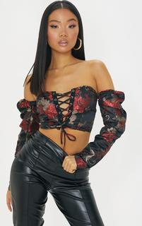 PrettyLittleThing - Petite Black Floral Lace Up Puff Sleeve Blouse, Black