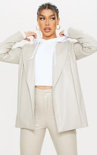 PrettyLittleThing - Stone Drop Collar Faux Leather Blazer, White