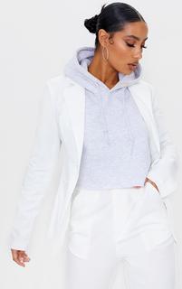 PrettyLittleThing - White Woven Open Back Detail Blazer, White